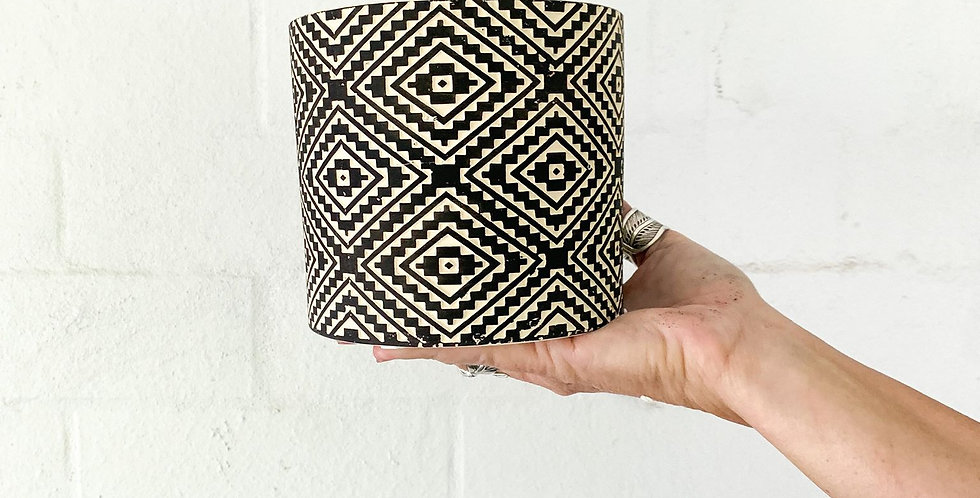 Patterned Black and White Ceramic Pot