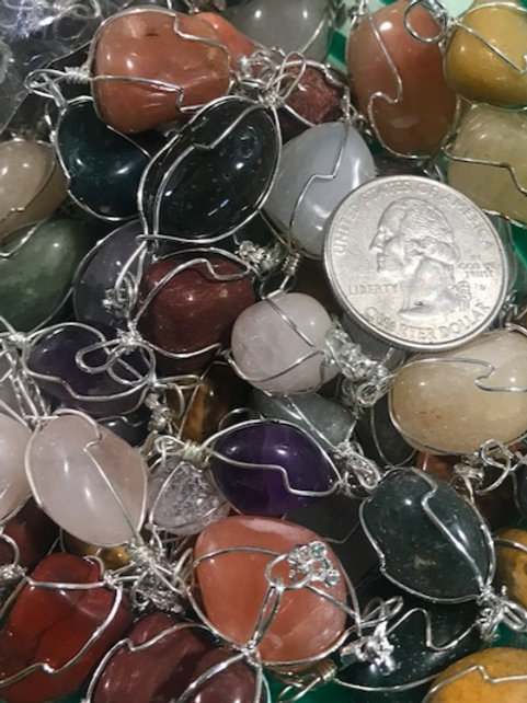 Small Wire-Wrapped Polished Stone Pendant