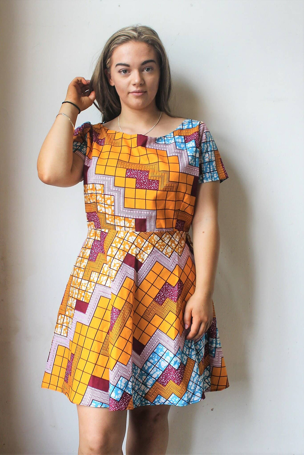 Bright and Colourful Block Patterned Dress.