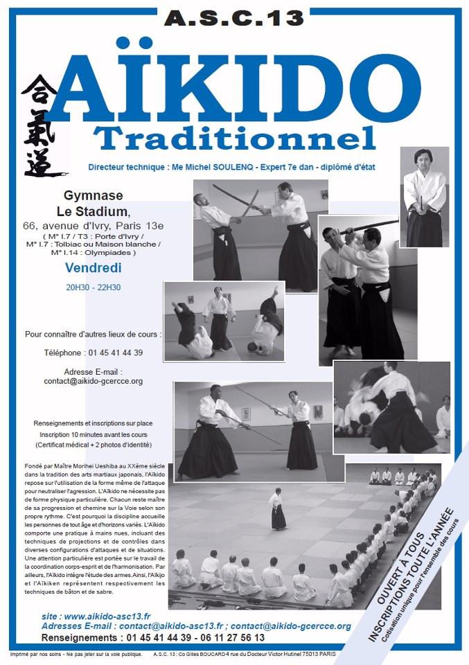 AFFICHE ASC 13 AIKIDO GCERCCE forum des sport Paris 13