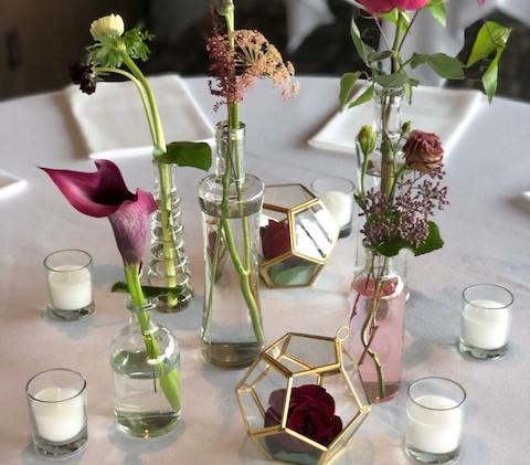 Bud vase centerpiece for wedding in seattle