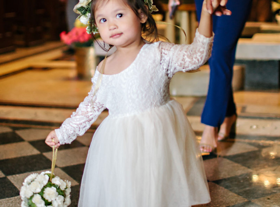 flower girl with flower crown st james cathedral