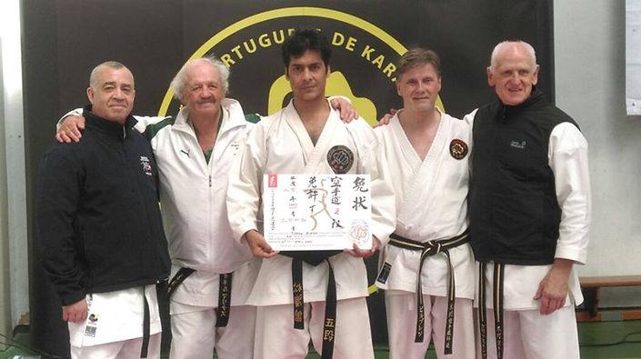 Renshi Mohan Singh Sir Receving  International KSI 5th Dan with Grand master of KSI Karate