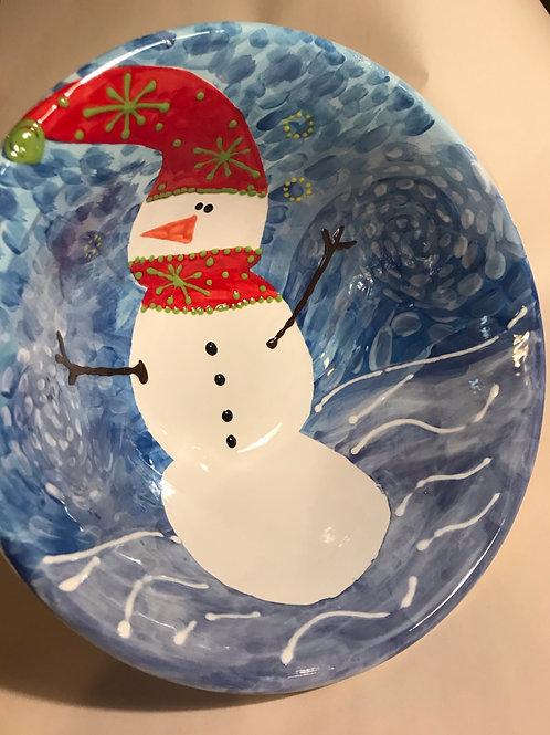 Large Snowman Design Serving Bowl