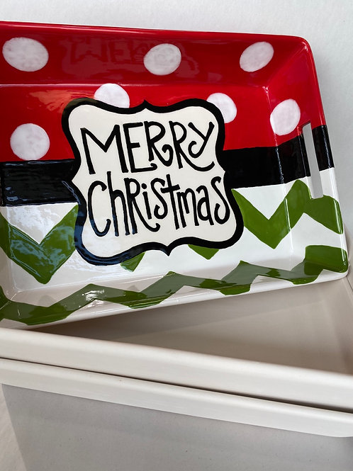 Merry Christmas Platter with Handles