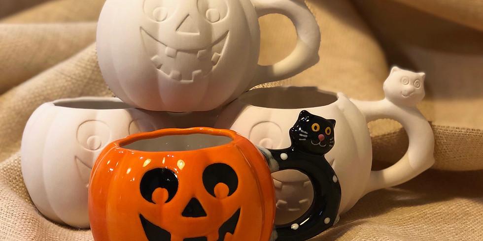 Jack-o'-lantern Cat Mug Event - NW BLVD STUDIO