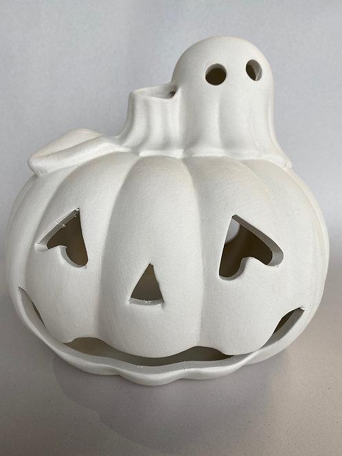 Pumpkin Ghost Votive-Pines
