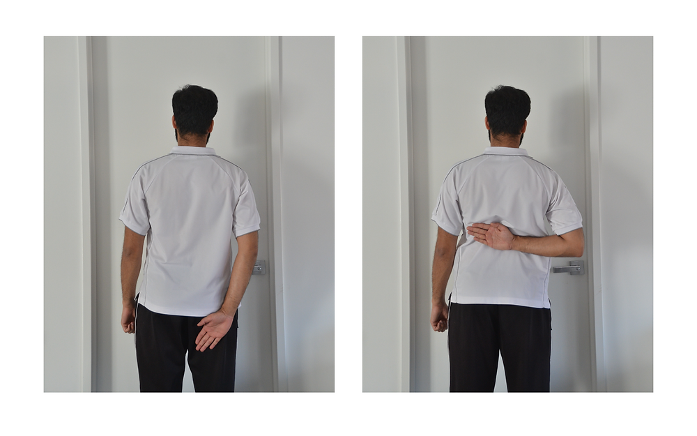 Assessing shoulder movement, internal rotation, home based range of motion
