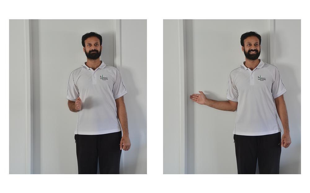 Shoulder range of motion assessment at home, external rotation