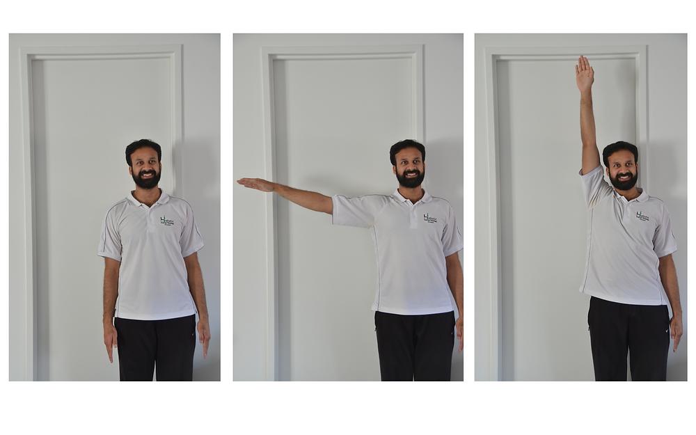 Self assessment of shoulder movement after shoulder pain. Range of motion.