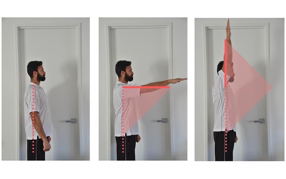 Shoulder flexion, range of motion, self-assessment