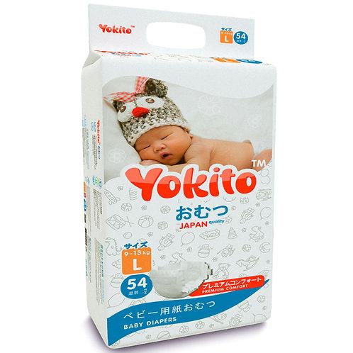 Подгузники на липучках Yokito Premium L (9-13 кг)-54 шт