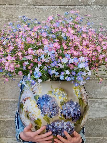 Fidrio vaas met zijde bloemen
