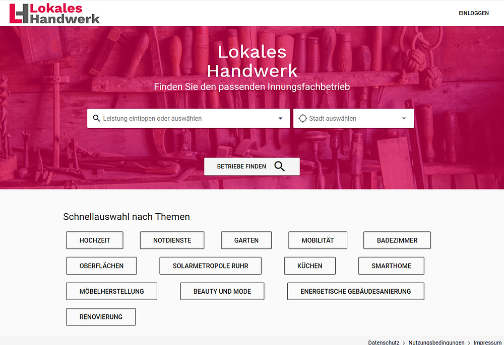 Screenshot von Lokales Handwerk