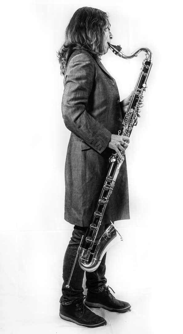Karen Wimhurst Bass Clarinet Playing BW
