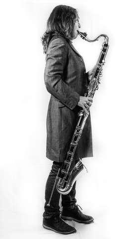 Karen Wimhurst Bass Clarinet Playing BW