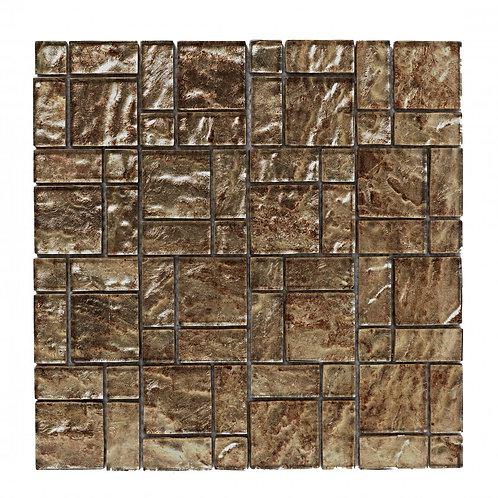 Bronze Foil Glass Mosaic  298mm x 298mm x 8mm