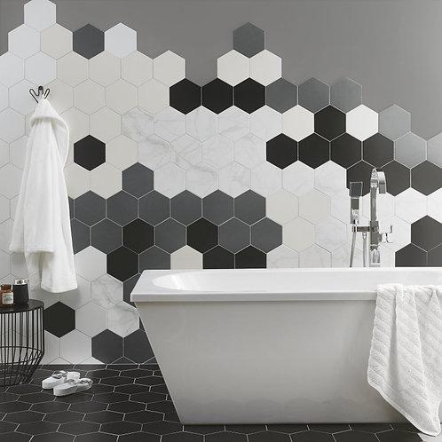 Cream Hexagon Satin Wall & Floor  175mm x 202mm x 8.5mm