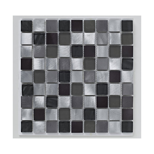Silver Metal and Glass Mix Mosaic  305mm x 305mm x 8mm