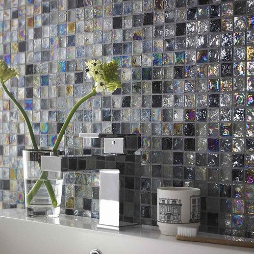Grey Hammered Glass Mix Mosaic  305mm x 305mm x 8mm