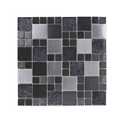 Metal and Foil Glass Black Mix Mosaic  298mm x 298mm x 8mm