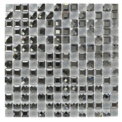 Grey Faceted Glass Mosaic  300mm x 300mm x 8mm