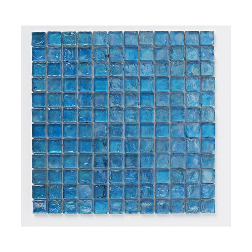 Blue Hammered Glass Mosaic  300mm x 300mm x 8mm