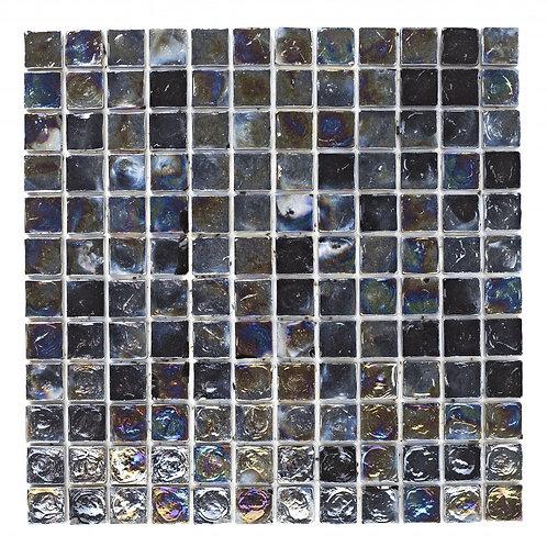 Black Hammered Glass Mosaic  305mm x 305mm x 8mm
