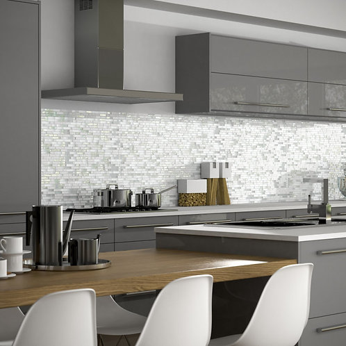 White Linear Glass Stone Mix Mosaic  305mm x 305mm x 8mm