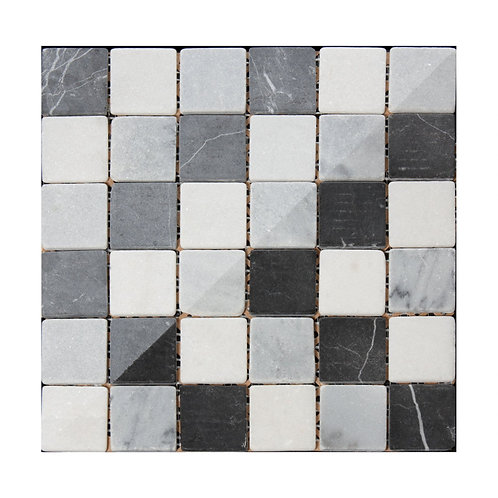 Black and White Buxton Marble Mosaic  302mm x 302mm x 8mm