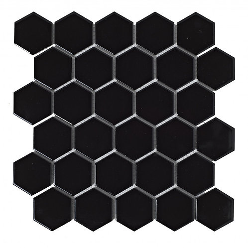 Black Hexagon Porcelain Mosaic  300mm x 300mm x 6mm