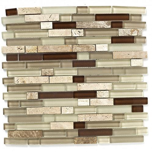 Beige Linear Glass Stone Mix Mosaic  300mm x 300mm x 8mm