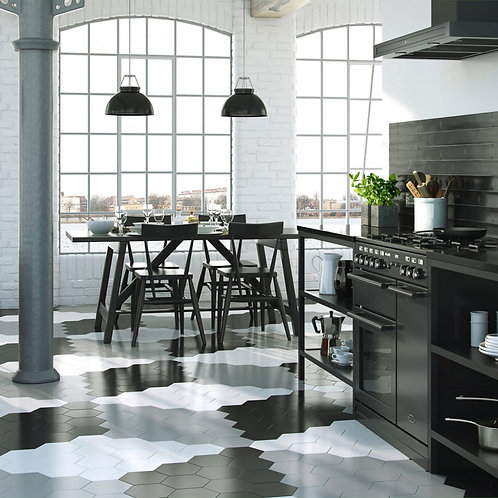 Black Hexagon Satin Wall & Floor  175mm x 202mm x 8.5mm