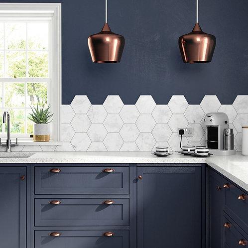 White Marble Hexagon Wall & Floor  175mm x 202mm x 8.5mm