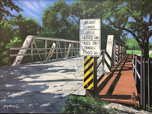 "GICLEE PRINT ""Bosque River Bridge at Hico City Park"""