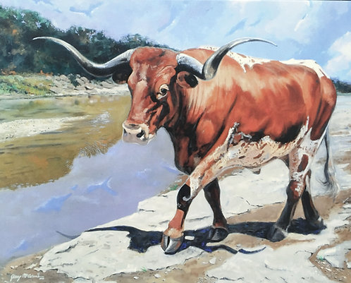 "GICLEE PRINT ""Longhorn At River Crossing"""