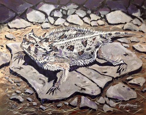 "GICLEE PRINT ""Horned Frog On The Rocks"""