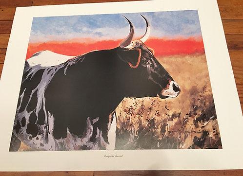 "PAPER PRINT ""Longhorn Sunset"""
