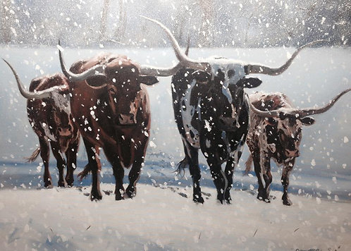 """GICLEE PRINT """"Longhorns in the Snow"""""""