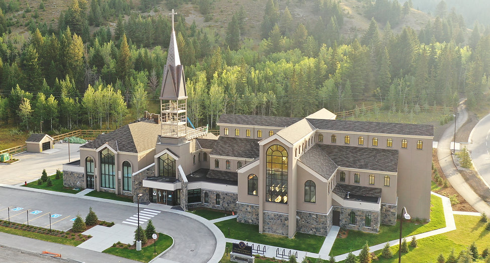 South view of Shrine Church of Our Lady of the Rockies, Canmore, Ab Canada