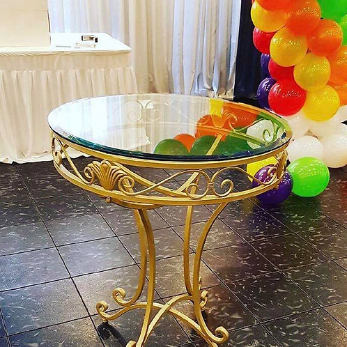 Gold Glass Top Table