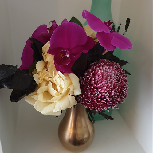 Purple and peach tones with Gold Globe Vase