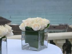 Cream Roses in Square Vase