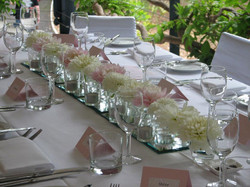 White and Pink table centre piece