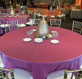 Pink Round Table.Blissful Events Table Cloth Hire Sydney