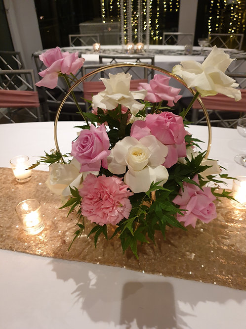 Pink and White Florals in Gold Hoop Vase
