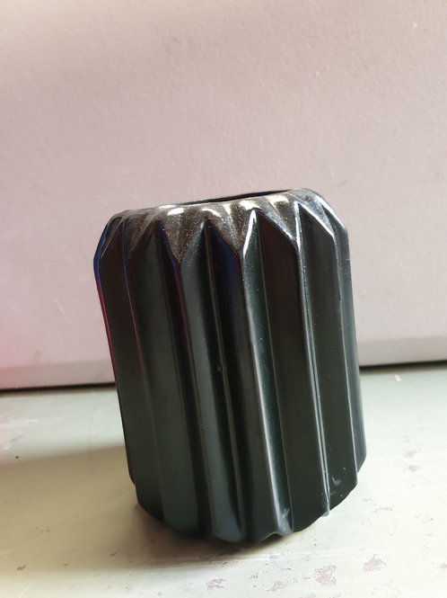 Black Ribbed Vase