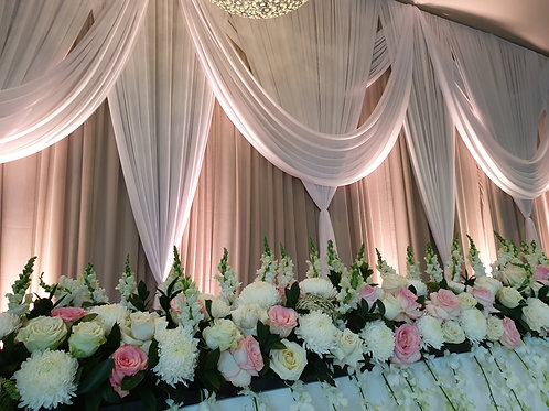 Pink and White Bridal Table Florals