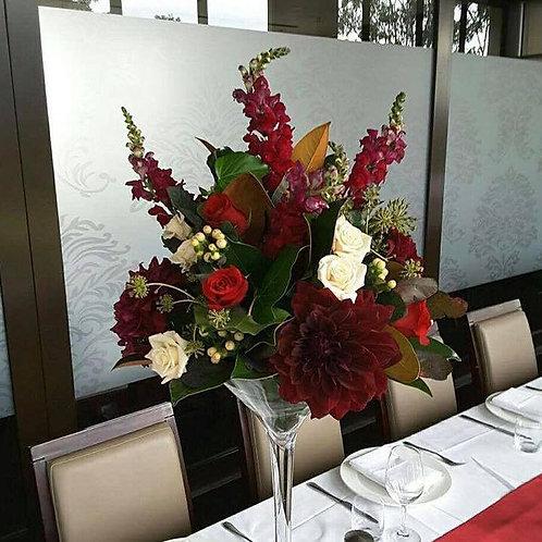 Fresh Flowers in Martini Vase (Red, Cream & Burgundy)