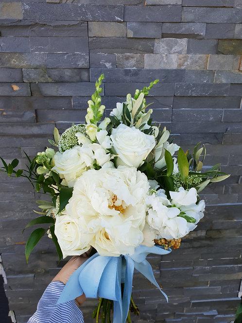 White Bridal Bouquet with Cornflour Blue Ribbon